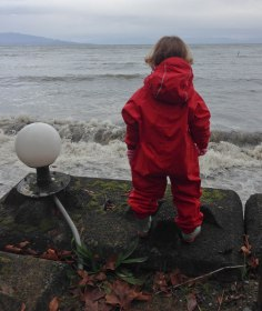 Rina, watching the stormy waves