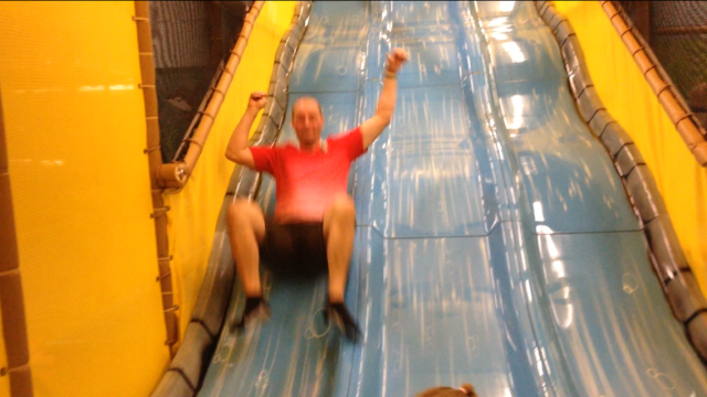 I know this is extra blurry, but look at how much fun Daddy is having!