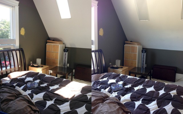 See those nice sun squares shining right on my side of the bed? They are all gone on the right pic!