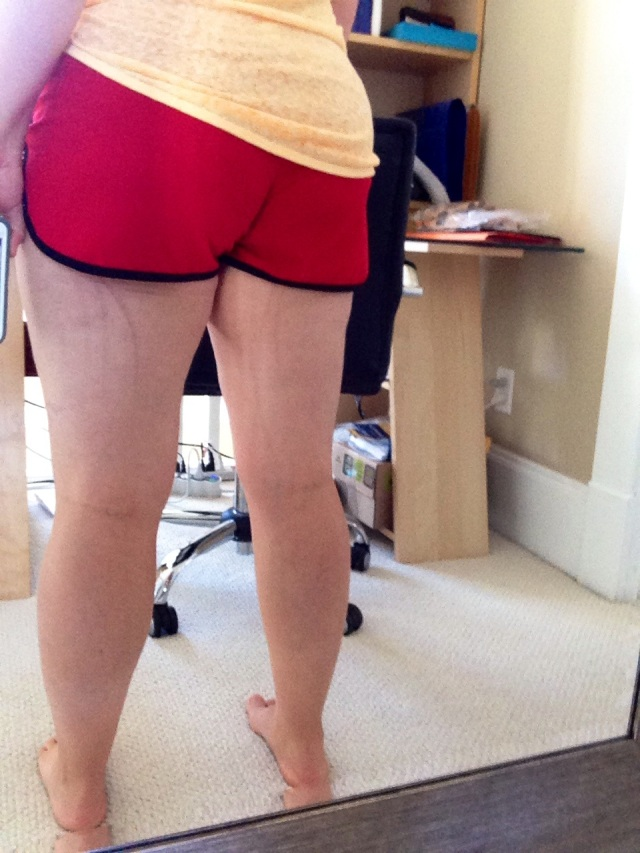 Not an easy feat to take a selfie of the back of your legs! See those whip marks? DU, I will conquer you!