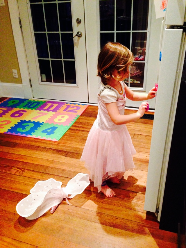 Fairy princess helping getting ingredients out of the fridge!