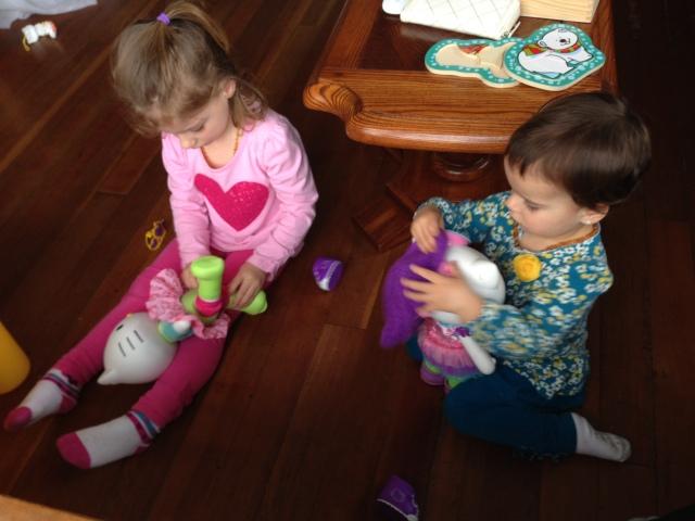 Having fun with their Jello Kitty dolls!