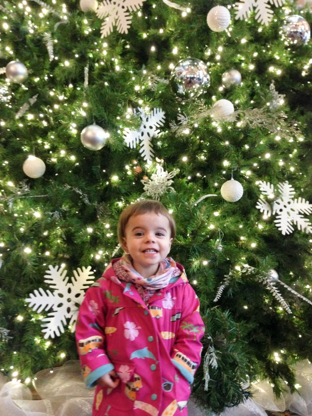 Goofball in front of the giant Tree in the lobby of the Empress Hotel