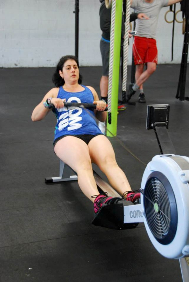 "On the erg, at the beginning. Rowing at 5'1"" is never pleasant"