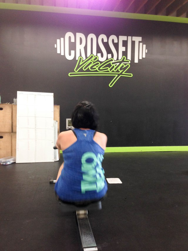 """Wearing my """"Two Peas In A WOD"""" tank with the hopes that Krista (my other pea) would somehow give me some of her strength."""
