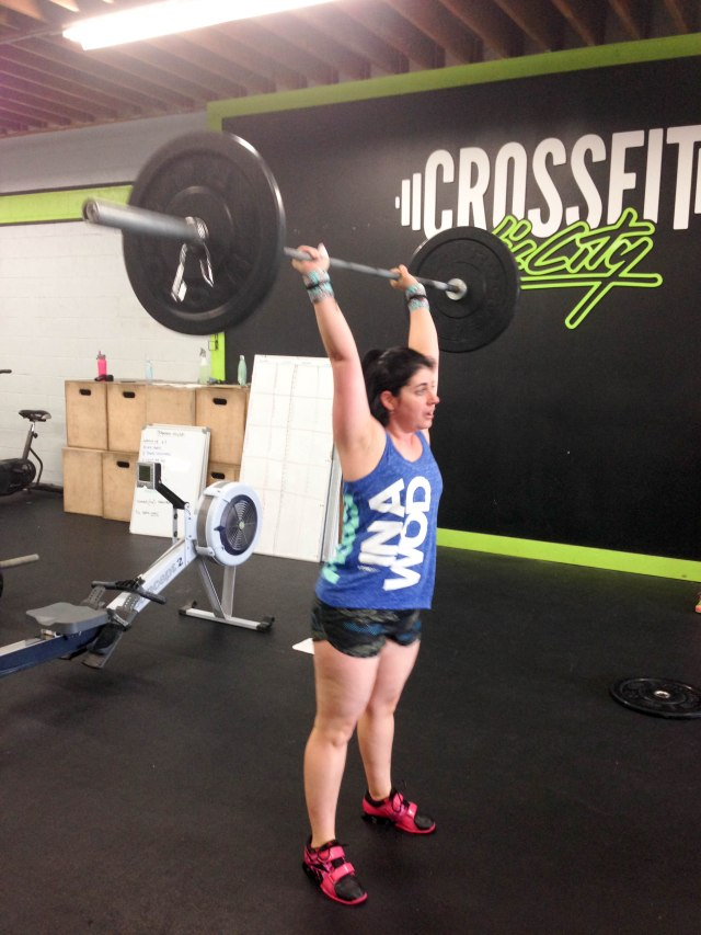 """Already have my """"hurt face"""" on... It was still early in the WOD as I'm still wearing my tank top..."""