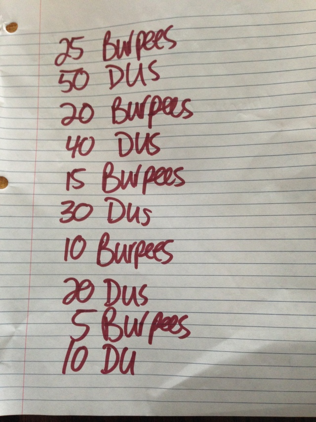 My cheat sheet hanging outside so I wouldn't lose track of where I was in the WOD.