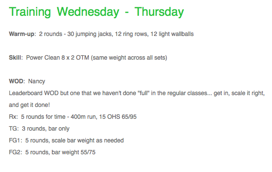 Today's WOD Source