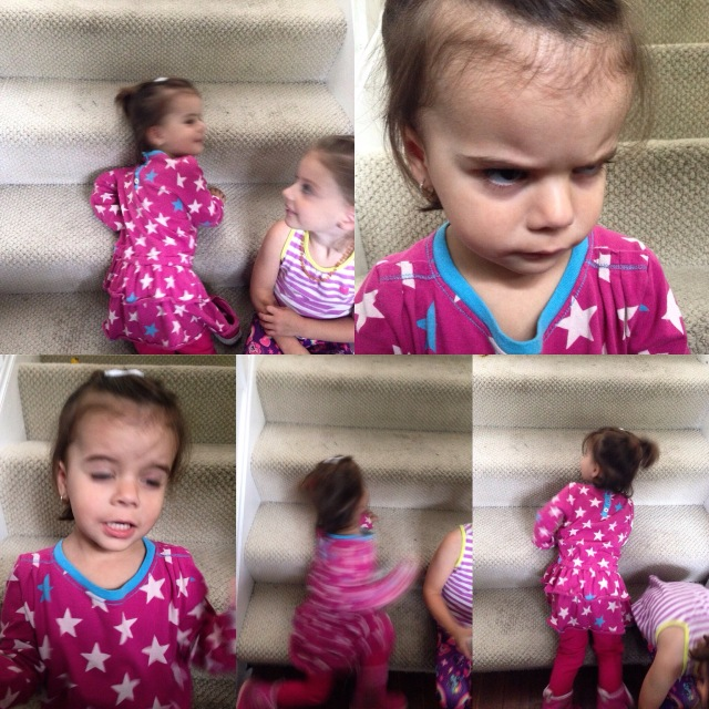 These are the best pictures I could take of Béatrice on her first day of pre-school! Typical Béa!