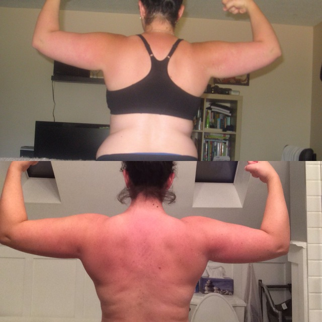 Top is on my 1st day of Crossfit, bottom is a few days ago. 28 months in between pictures